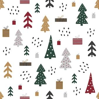 Kreskówka wzór z domów i drzew, świąteczny nastrój.