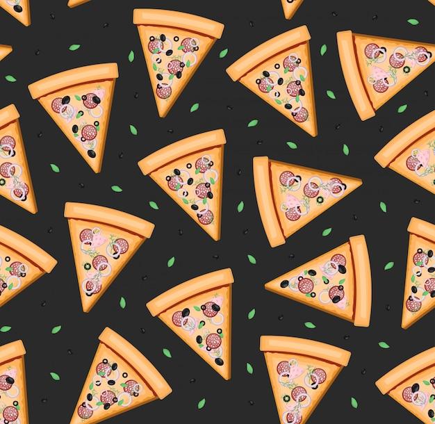Kreskówka wzór z pizzą do pakowania papieru, zakrywania, wystroju menu restauracji i marki na ciemnym tle.