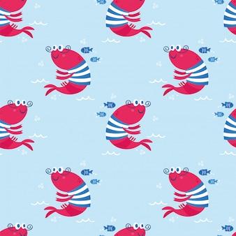 Kreskówka wzór z zwierząt morskich