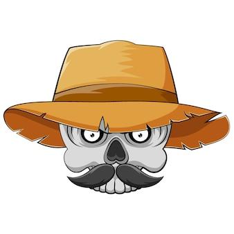 Kreskówka z głową czaszki z wąsami i słomkowym kapeluszem dla inspiracji maskotką