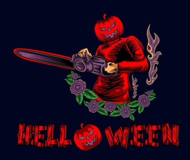 Kreskówka z piłą łańcuchową i dynią halloweenową ilustracją