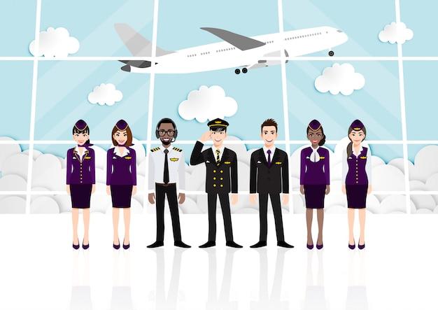 Kreskówka z pokoju pasażerskiego w terminalu lotniska i zespół profesjonalnych linii lotniczych w mundurze