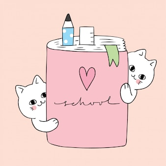 Kreskówka z powrotem do szkoły kota i książki