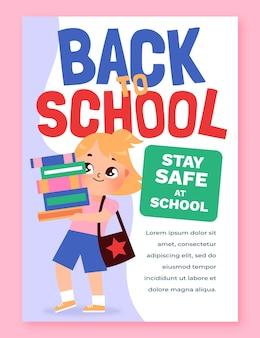 Kreskówka z powrotem do szkoły szablon plakatu pionowego