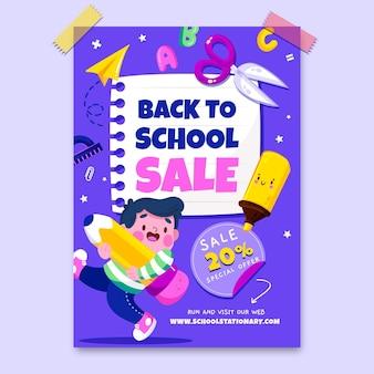 Kreskówka z powrotem do szkoły szablon ulotki sprzedaży pionowej