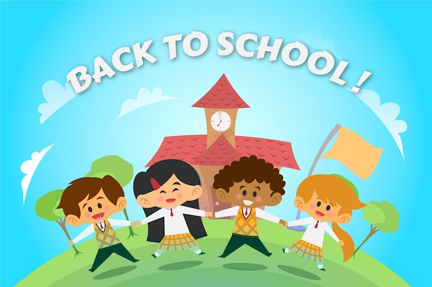 Kreskówka z powrotem do szkoły w tle