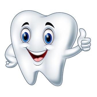 Kreskówka ząb daje kciukowi up