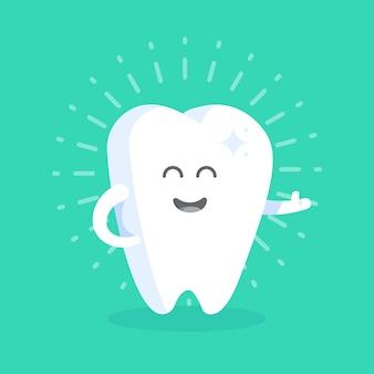 Kreskówka ząb z twarzy, oczu i rąk. koncepcja wizerunku klinik, dentystów, plakatów, oznakowania, stron internetowych.
