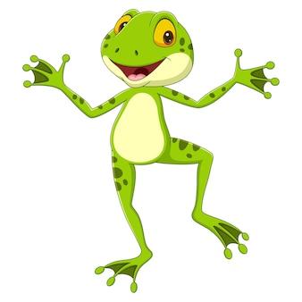 Kreskówka żaba śmieszne pozowanie na białym tle
