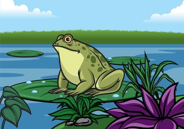Kreskówka żaba stans na liściu lotosu na lale