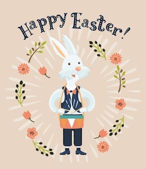 Kreskówka zabawna ilustracja białego królika grającego na bębnie
