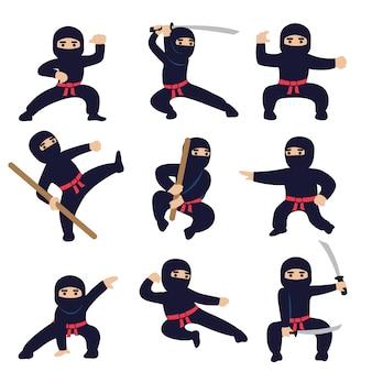 Kreskówka zabawni wojownicy. ninja lub samurajskie postacie wektorowe