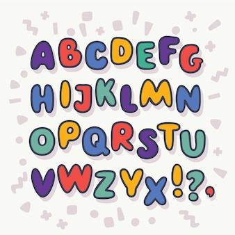 Kreskówka zabawny alfabet bańki