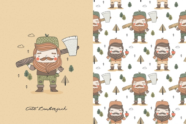 Kreskówka zabawny drwal z siekierą. mężczyzna postać hipster pracownika. zestaw ilustracji i wzorów