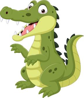 Kreskówka zabawny krokodyl na białym tle