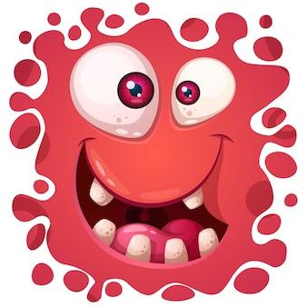 Kreskówka zabawny ładny potwór twarz.