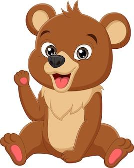 Kreskówka zabawny niedźwiedź dziecko siedzi ilustracja