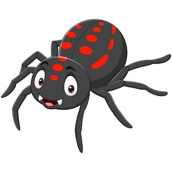 Kreskówka zabawny pająk na białym tle