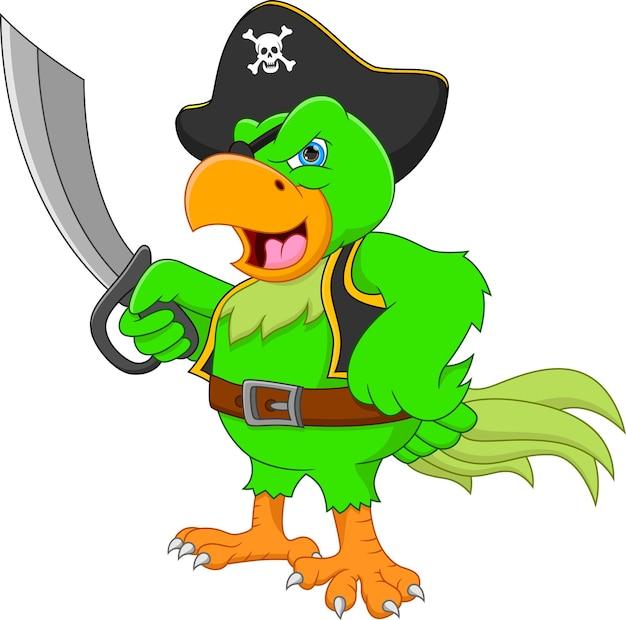 Kreskówka zabawny pirat papuga trzymająca miecz