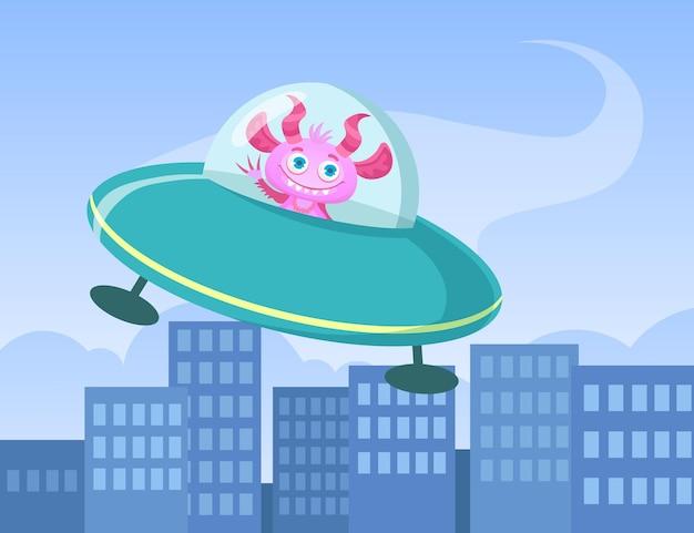 Kreskówka zabawny potwór podróżujący w latającym spodku. płaska ilustracja.