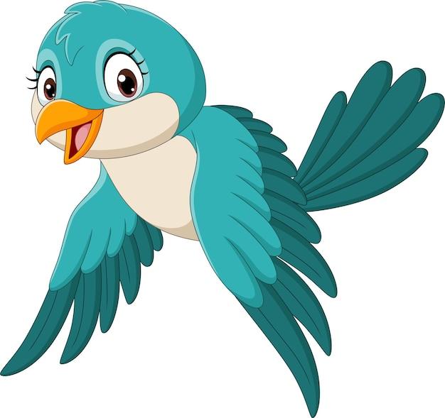 Kreskówka zabawny ptak latający na białym tle