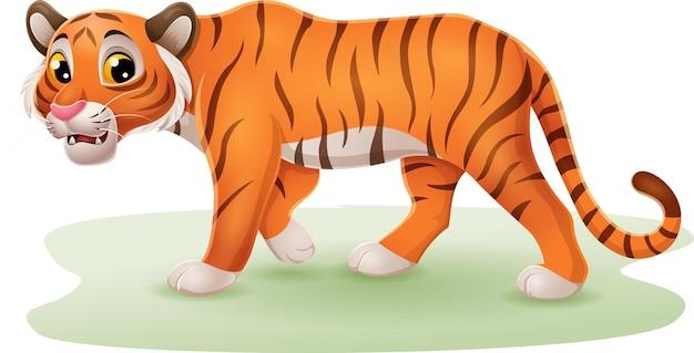 Kreskówka zabawny tygrys na trawie