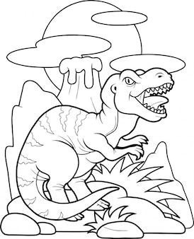 Kreskówka zabawny tyranozaur