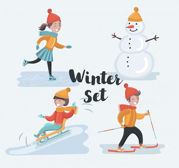 Kreskówka zabawny zestaw ilustracji sceny z ferii zimowych. jazda na nartach, jazda na łyżwach, bałwan, jazda na sankach. zimowa zabawa dla dzieci w śnieżnym krajobrazie na świeżym powietrzu. znaki na białym tle