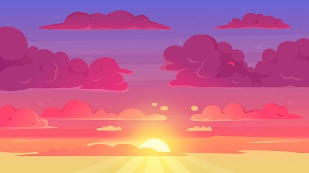 Kreskówka zachód słońca niebo. gradientowe fioletowe i żółte niebo chmury krajobraz, wieczorny zachód słońca niebo panorama tła ilustracji. kreskówka zachód słońca niebo, wschód słońca scena słońce