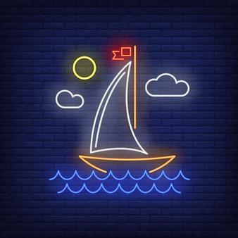 Kreskówka żaglowiec neonowy znak. statek, podróż, przygoda.