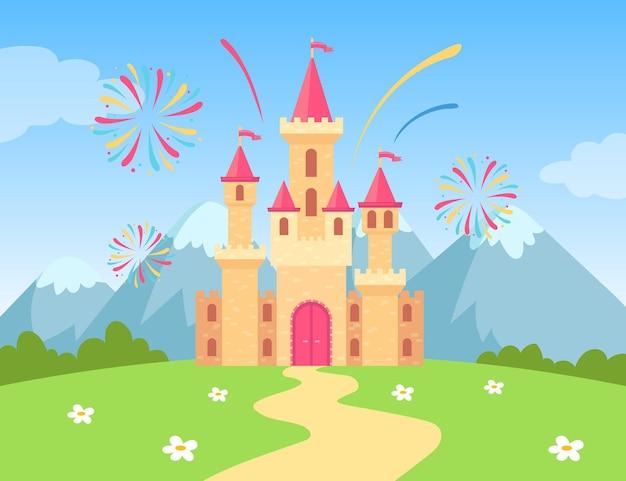 Kreskówka zamek z fajerwerkami na ilustracji w ciągu dnia