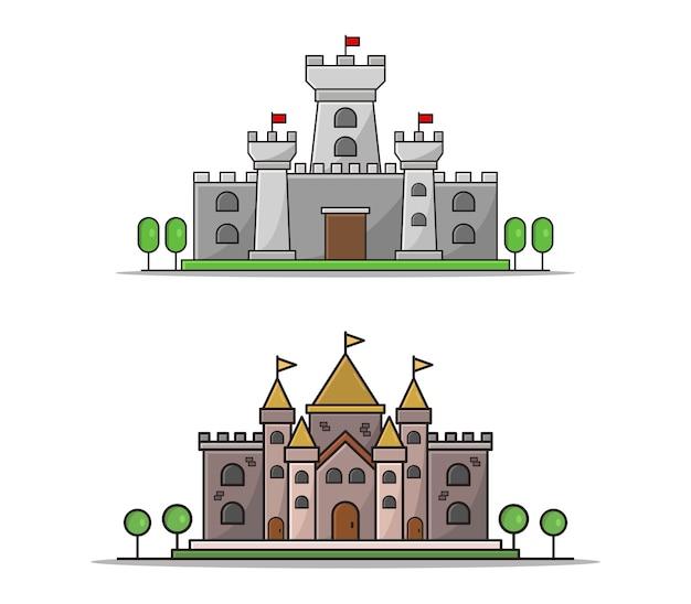 Kreskówka zamek zestaw clipart na białym tle