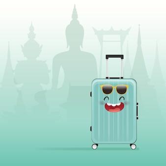 Kreskówka zapakowana walizka na thail