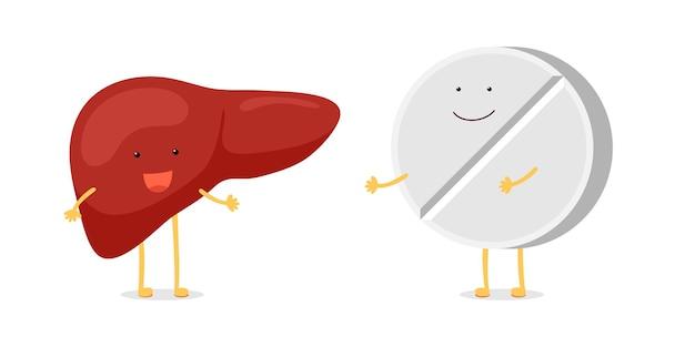 Kreskówka zdrowa ludzka wątroba szczęśliwy emocja postać z śmieszne uśmiechający się tabletka leku leku. koncepcja przyjaciół medycznych opieki zdrowotnej. ilustracja wektorowa kreskówka odwracalny gruczoł zewnątrzwydzielniczy ilustracja