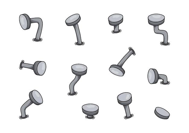 Kreskówka żelazne stare gwoździe, stalowe gięte kolce, zestaw stolarski, ikona zardzewiałej metalowej szpilki