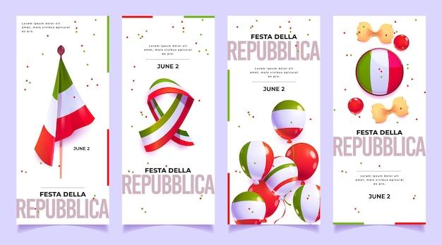 Kreskówka zestaw banerów festa della repubblica