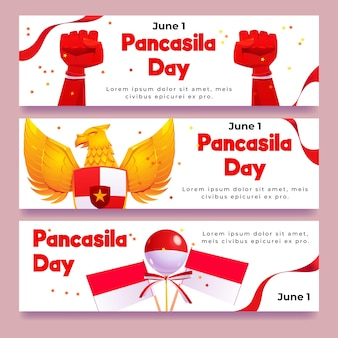 Kreskówka zestaw banerów pancasila day
