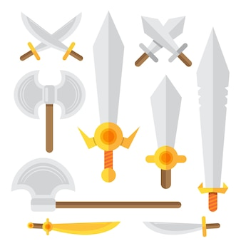 Kreskówka zestaw broni średniowiecznych rycerzy