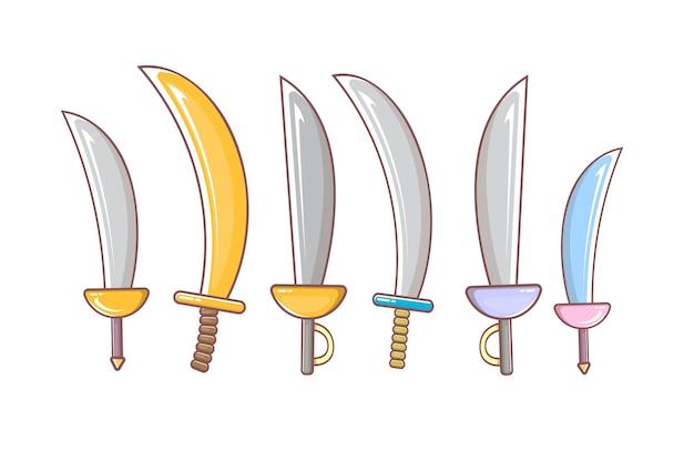 Kreskówka zestaw broni szabla średniowiecznych rycerzy