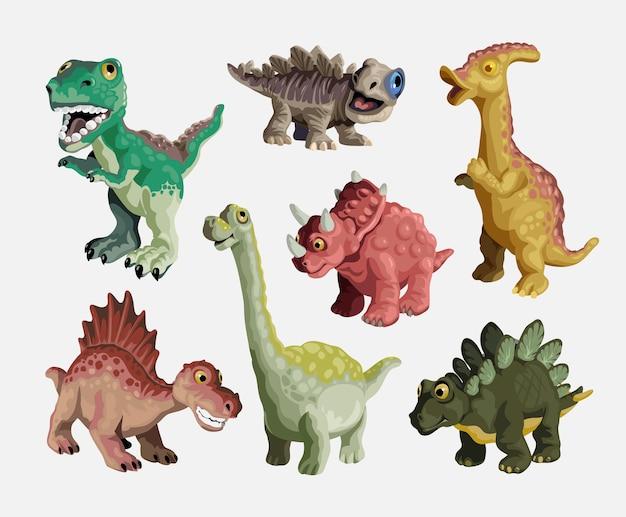 Kreskówka zestaw dinozaurów. kolekcja plastikowych zabawek dla dzieci słodkie dinozaury. kolorowe drapieżniki i roślinożercy. ilustracja na białym tle.