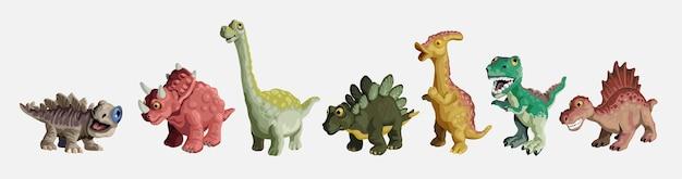 Kreskówka zestaw dinozaurów. kolekcja plastikowych zabawek dla dzieci słodkie dinozaury. kolorowe drapieżniki i roślinożercy.