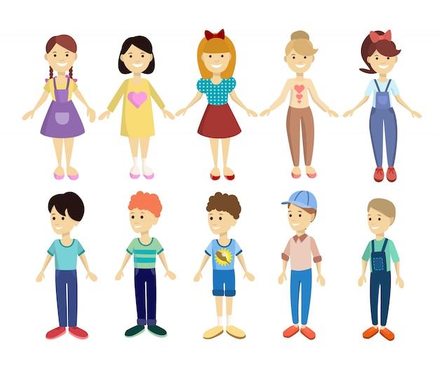 Kreskówka zestaw dzieci. kolorowi chłopcy i dziewczęta.