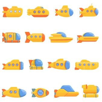 Kreskówka zestaw ikon batyskafu