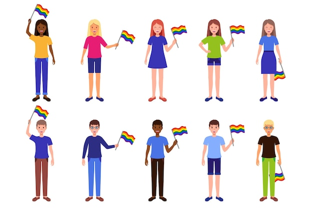 Kreskówka zestaw ilustracji z mężczyznami i kobietami różnych ras trzymającymi tęczowe flagi społeczności lgbt.