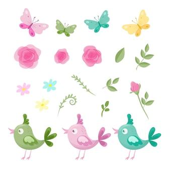 Kreskówka zestaw kwiatów róż, motyli i ptaków na walentynki. ilustracja