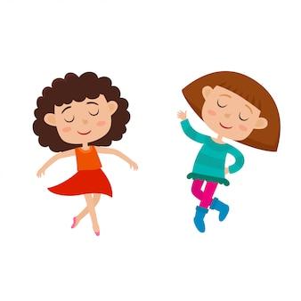 Kreskówka zestaw małych wdzięku szczęśliwe dziewczyny tańczące i uśmiechnięte na białym tle