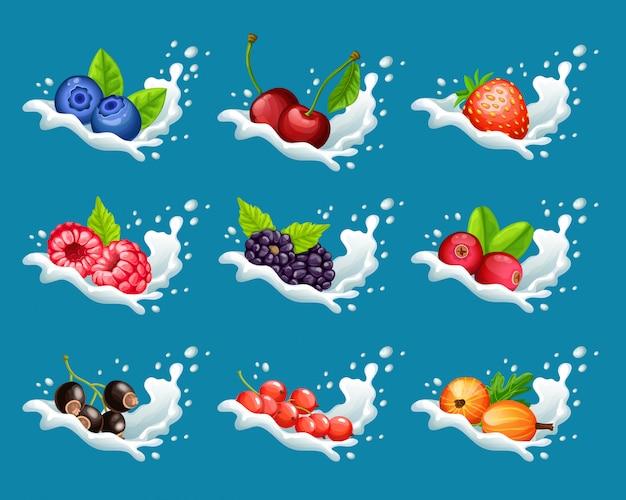 Kreskówka zestaw naturalnych słodkich produktów