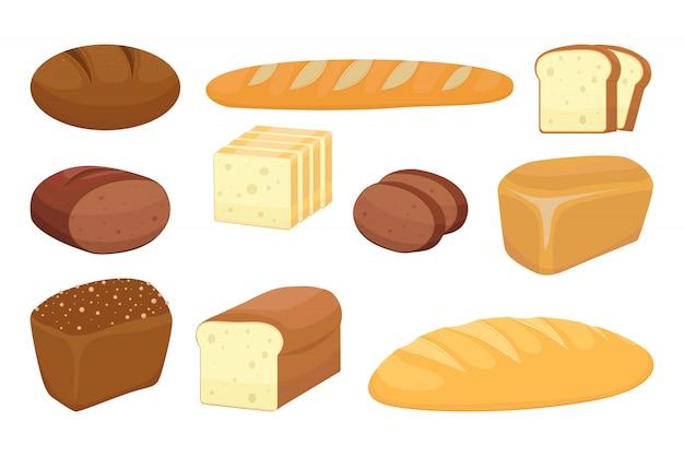 Kreskówka zestaw produktów piekarniczych. ciasto i zbieranie różnych chlebów na obrazku. ilustracja
