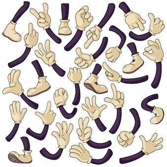 Kreskówka zestaw rąk i nóg. na białym tle ładny dłoń w rękawicy i stopy w kolekcji białych butów. ilustracja wektorowa komiks znaków gestów