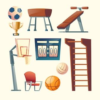 Kreskówka zestaw sprzętu do ćwiczeń w szkole, uczelni. koszykówka, elementy do gry w siatkówkę